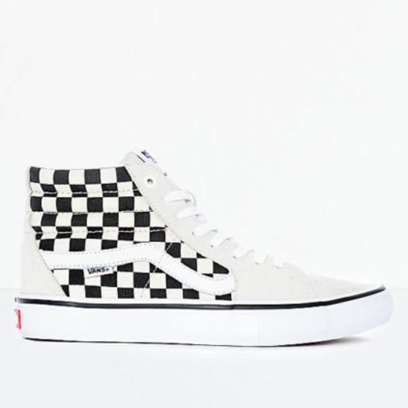 b357812f95 Vans Sk8-Hi Pro Black   White Checkered Skate Shoe